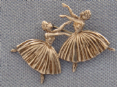 1940's Silver Brooch - Two Ballet Dancers - Sterling Silver Ballet Pin (Sold)